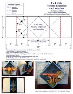 4 x 4 inch Reverse Explosion card template_zpsrwqzcjyy.Card Templates Slideshow by Penny WessenauerPenny Wessenauer uploaded this image to 'Card Templates'. See the album on Photobucket.Dbl Tri-fold Cascade photo byPrint out easel card sticker and cu Pop Up Card Templates, Card Making Templates, Card Making Tutorials, Card Making Techniques, Fancy Fold Cards, Folded Cards, Ideas Scrap, Swing Card, Karten Diy