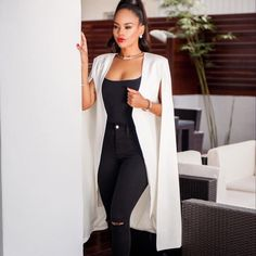 Plus Size Women Blazer Elegant Long Cloak Coat High Quality Cape White/Black/Burgundy Color Office Daily High Street Suit Jackets For Women, Blazers For Women, Suits For Women, Clothes For Women, Women's Clothes, Women Blazer, Women's Jackets, Fall Blazer, Long Blazer
