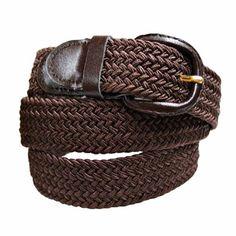 Luxury Divas Brown Braided Elastic Stretch Belt Size X-Large