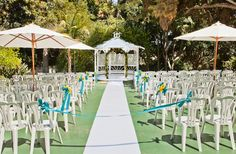 Outdoor setting for #summer #wedding with blue and yellow and plenty of sunshine.