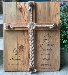 Personalized Rustic Wedding Alternative Unity Ceremony Cross Jute Braided Rope Sign. Cord of Three Scripture Ecclesiastes 4:12, New Font...