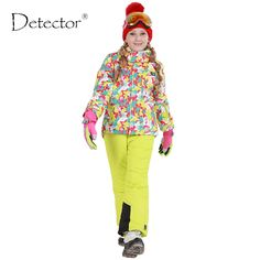 2016 Detector Winter Girls Ski Set Outdoor Windproof Waterproof Snowboard Fleece Outerwear for Children Warm Girl Ski Jacket