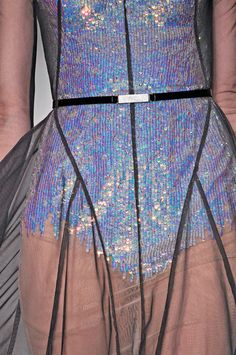Holographic sequins. Sheer panels. Cinched waist. #TopshopPromQueen