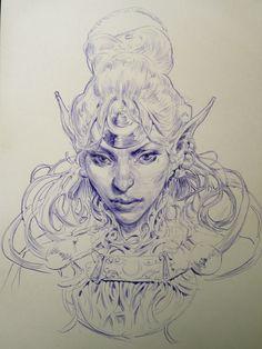 beautiful sketch  from elf queen https://nl.pinterest.com/mhendriks404/comic-art-3-drawings-sketching/