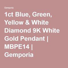 1ct Blue, Green, Yellow & White Diamond 9K White Gold Pendant | MBPE14 | Gemporia