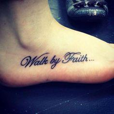 walk by faith tattoo on foot - Bing Images - - Faith Foot Tattoos, Wrist Tattoos For Women, Mom Tattoos, Body Art Tattoos, Sleeve Tattoos, Cross Tattoos, Phrase Tattoos, Heart Tattoos, Ankle Tattoos