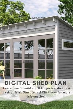 Utility Garden Shed Plans 10' x 14' Reverse Gable Roof Style, ... The Family Handyman Project Plans (Digital Download): The Ultimate ... Diy Storage Shed Plans, Diy Shed, Handyman Projects, Build Your Own Shed, Gable Roof, Roof Styles, Backyard Sheds, She Sheds, Tool Sheds