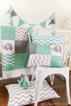 Elephant crib bedding for the perfect unisex nursery. Baby blanket and patchwork baby quilt in our popular elephant motif.