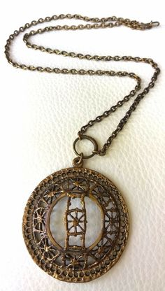 """Pentti Sarpaneva Finland - Vintage Bronze Pendant with Chain """"Pitsi / Lace"""" Big Bronze Jewelry, Bronze Ring, Bronze Pendant, Antique Jewelry, Vintage 70s, Clip On Earrings, Hanger, Jewelry Watches, Finland"""
