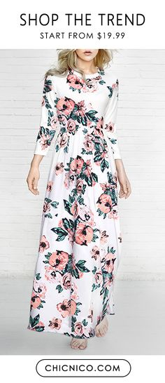 You can't go wrong with a classic floral dress! We are loving our new floral maxi dress with it's ultra chic floral print! — — Search more at chicnico.com