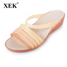1892a83057 US $11.2 49% OFF|Women Sandals Summer Slippers Candy Color Women Shoes Peep  Toe Beach Valentine Rainbow Croc Jelly Shoes Woman Flats ST238-in Women's  ...