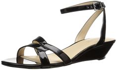 Nine West Women's Valaria Synthetic Wedge Sandal *** Check out this great image : Wedge sandals Nine West, Wedge Sandals, Fashion Beauty, High Heels, Footwear, Wedges, Amazon, 3c, Black
