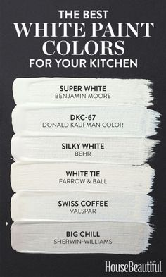 White kitchen paint colors - 6 White Paint Colors Perfect for Kitchens – White kitchen paint colors Best White Paint, White Paint Colors, Kitchen Paint Colors, Interior Paint Colors, White Paints, Wall Colors, House Colors, Interior Painting, Painting Kitchen Cabinets White