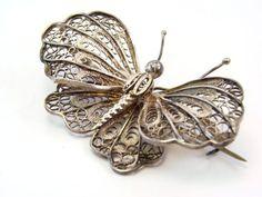 Victorian Silver Tone Huge Filigree Sterling Butterfly Pin Brooch Jewelry
