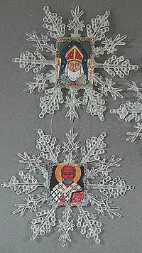 Snowflake ornaments with St Nicholas pictures