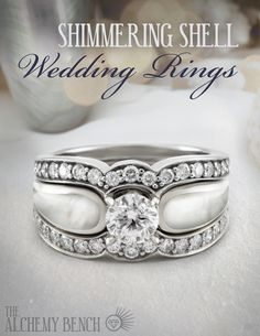 Our white mother of pearl wedding rings seem to almost glow, shimmering in different ways as you twist your hand in the light Pearl Ring, Pearl Jewelry, Jewelry Box, Jewelry Rings, Shell, Handmade Engagement Rings, Traditional Engagement Rings, Beautiful Wedding Rings, Alchemy