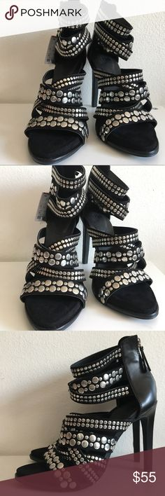 Trafaluc by ZARA Studded Strappy Heels Brand new with tags. There are some scuffs on the back of heel from storage but are in otherwise excellent condition! Size 6. Comes with extra heel points Zara Shoes Heels