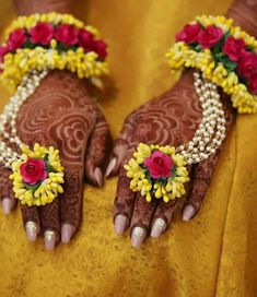 1 Pair of Hot Pink & Yellow Gotapatti flower bracelet hathphool Hand Harness for Mehandi / Sangeet Wedding for Girls / Women Hand Jewelry, Jewelry Sets, Handmade Jewelry, Jewellery Bracelets, Bridal Flowers, Red Flowers, Paper Flowers, Flower Jewellery For Mehndi, Flower Jewelry