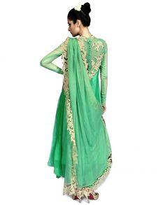 zari anarkali suit   Mint Green Anarkali Suit with Zari Work