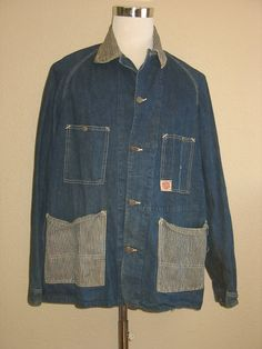 Vintage 1950's era HEADLIGHT Union Made indigo denim work coat with hickory stripe collar  lower front pockets