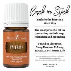 Are you looking for a better, more natural way to catch some Zzzzs? Valerian has your back! Check out Young Living's Valerian Essential Oil and get a good night rest, right now! Valerian Essential Oil, Are Essential Oils Safe, Essential Oil Diffuser Blends, Lemon Essential Oils, Essential Oil Uses, Young Living Essential Oils, Cedarwood Oil, Healing Oils, Young Living Oils