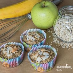 Briose dietetice cu mere, banane si ovaz / Diet apple, banana and oat muffins - Madeline's Cuisine Oat Muffins, Raw Vegan, Healthy Desserts, Deserts, Food And Drink, Gluten Free, Breakfast, Sweet, Lifestyle