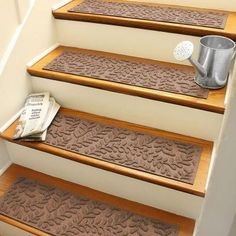 Aqua Shield Dark Brown 8.5 in. x 30 in. Boxwood Stair Tread (Set of 4)-20561521 - The Home Depot