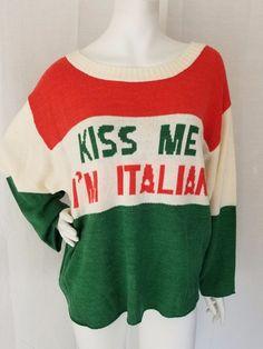 "WILDFOX COUTURE ""Kiss Me I'm Italian"" Oversized Boxy Sweater Womens M Italy Flag  | eBay"