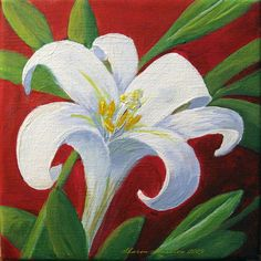 Easter Paintings On Canvas | Easter Lily Painting - Easter Lily Fine Art Print