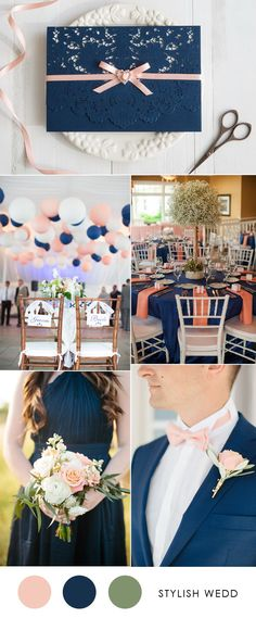 elegant navy blue and peach wedding color combo ideas with wedding invitation