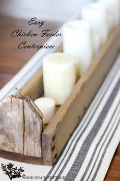 Easy Chicken Feeder Centerpiece - The Wood Grain Cottage