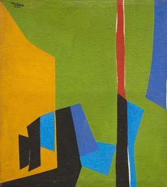 Composition, 1974  Acrylique sur toile  Signée et datée '74' en haut à gauche  125 x 112 cm.  (Usures)
