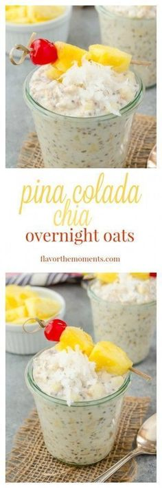 Pina Colada Chia Overnight Oats are creamy overnight oats with chia seeds, coconut, and fresh pineapple. It's a breakfast that feels like a tropical getaway!