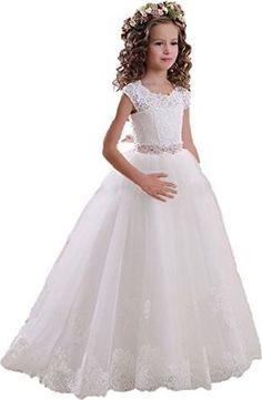 2316abdbab Amazon.com  MicBridal Scoop Lace Flower Girls Dresses Belt First Communion  Dress  Clothing