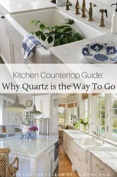 Kitchen Countertop Guide: Why Quartz is the Way to Go Types Of Countertops, Quartz Kitchen Countertops, Kitchen Countertop Materials, Best Countertop Material, Home Decor Kitchen, New Kitchen, Home Kitchens, Kitchen Ideas, Maple Kitchen