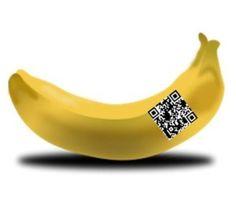 "QR codes pinned onto fruit by ""Banana Ambassador"" from Ecuador"