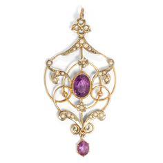 Unschuldige Blümlein - Feiner Gold-Anhänger mit Amethysten & Perlen, England um 1905 von Hofer Antikschmuck aus Berlin // #hoferantikschmuck #antik #schmuck #antique #jewellery #jewelry