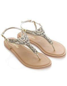 Petrus Embellished Sandals | Gold | Accessorize