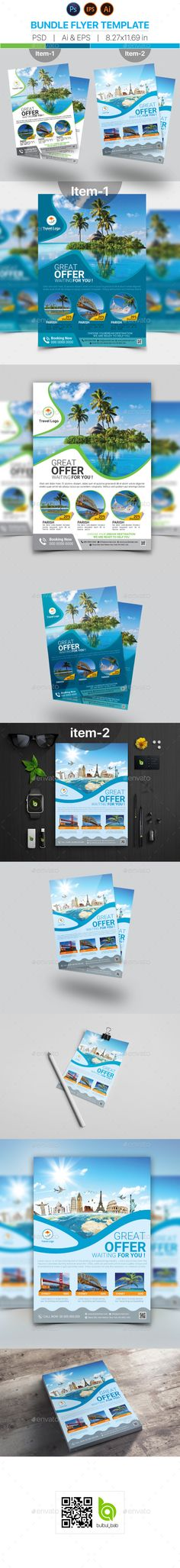 Travel Flyer Template Bundle - PSD, Vector EPS, AI Illustrator