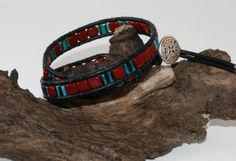 Double Leather Wrapped Bracelet with Square Flat by DESIGNBYSTARLA, $35.00