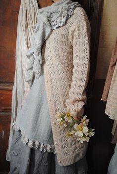 Miss Rose Vest powder pink, pastel gray wool tunic and skirt organza ...