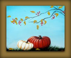 Autumn Fall Pumpkin Painting with a Blue Sky by hilariagalleries