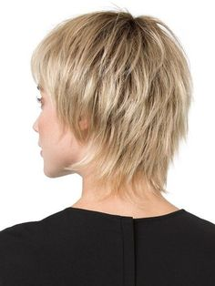 Shorter crown and longer nape creates a shag cut