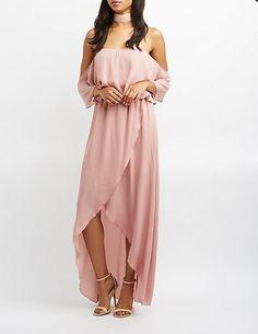 Off the shoulder wrap maxi dress | Charlotte Russe | summer style | blush pink | wedding attire