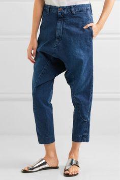 Bassike - Super Lo Slung Cropped Boyfriend Jeans - Blue - 28