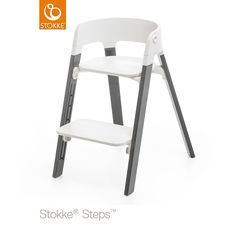 The Stokke Steps high chair in grey with baby set and tray. | High ...