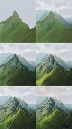 How to paint green mountain summit scene. Digital Painting of mountains in Switzerland. Background Environment concept art drawing process reference s. Digital Art Tutorial, Digital Painting Tutorials, Art Tutorials, Concept Art Tutorial, Digital Paintings, Easy Paintings, Illustrator Tutorials For Beginners, Colorful Paintings, Acrylic Paintings