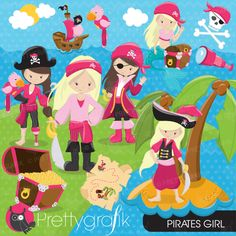 Pirate Girl Clipart - adorable clipart perfect for embroidery, invitations, scrapbooking and crafts.