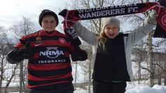 Still singing for the #Wanderers - two of Stephen Price's children barracking for their team in the Asian Champions League group game last night from Lapland, north of the Arctic Circle. 08.04.15