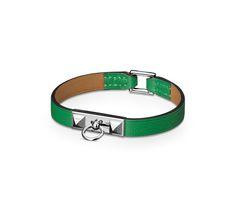 "Micro Rivale Hermes micro leather bracelet (size M) Bamboo swift calfskinPalladium plated hardware, 2.5"" diameter, 7"" circumference."